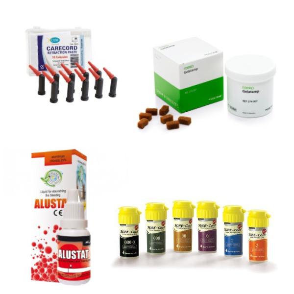 Asinsapturošie, alveolīta ārstēšanas un retrakcijas līdzekļi